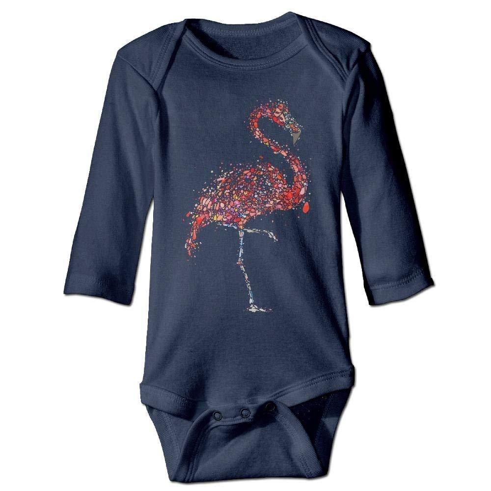 Babys Watercolor Dots Flamingo Long Sleeve Romper Onesie Bodysuit Jumpsuit