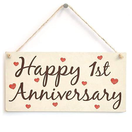 Hunnry Happy 1st Anniversary Letrero de Placa de Madera ...