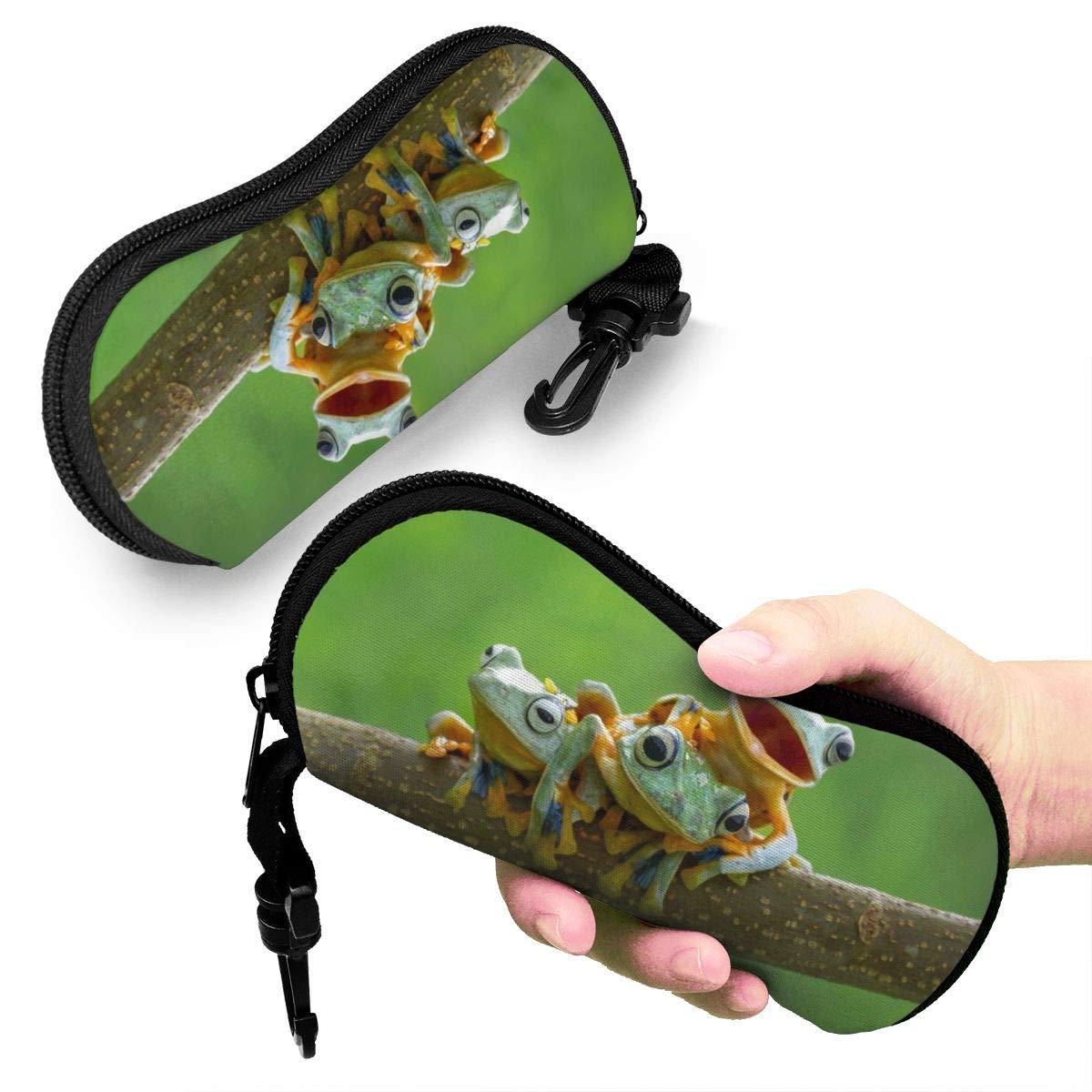 Spring Floral Flower Hummingbird Sunglasses Soft Case Ultra Light Neoprene Zipper Eyeglass Case With Carabiner For Men Women