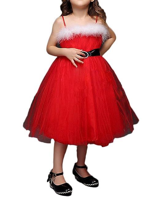Vestido Elegante de Princesa Boda Fiesta Vestidos Invierno Espalda al Aire para Niña Rojo 100