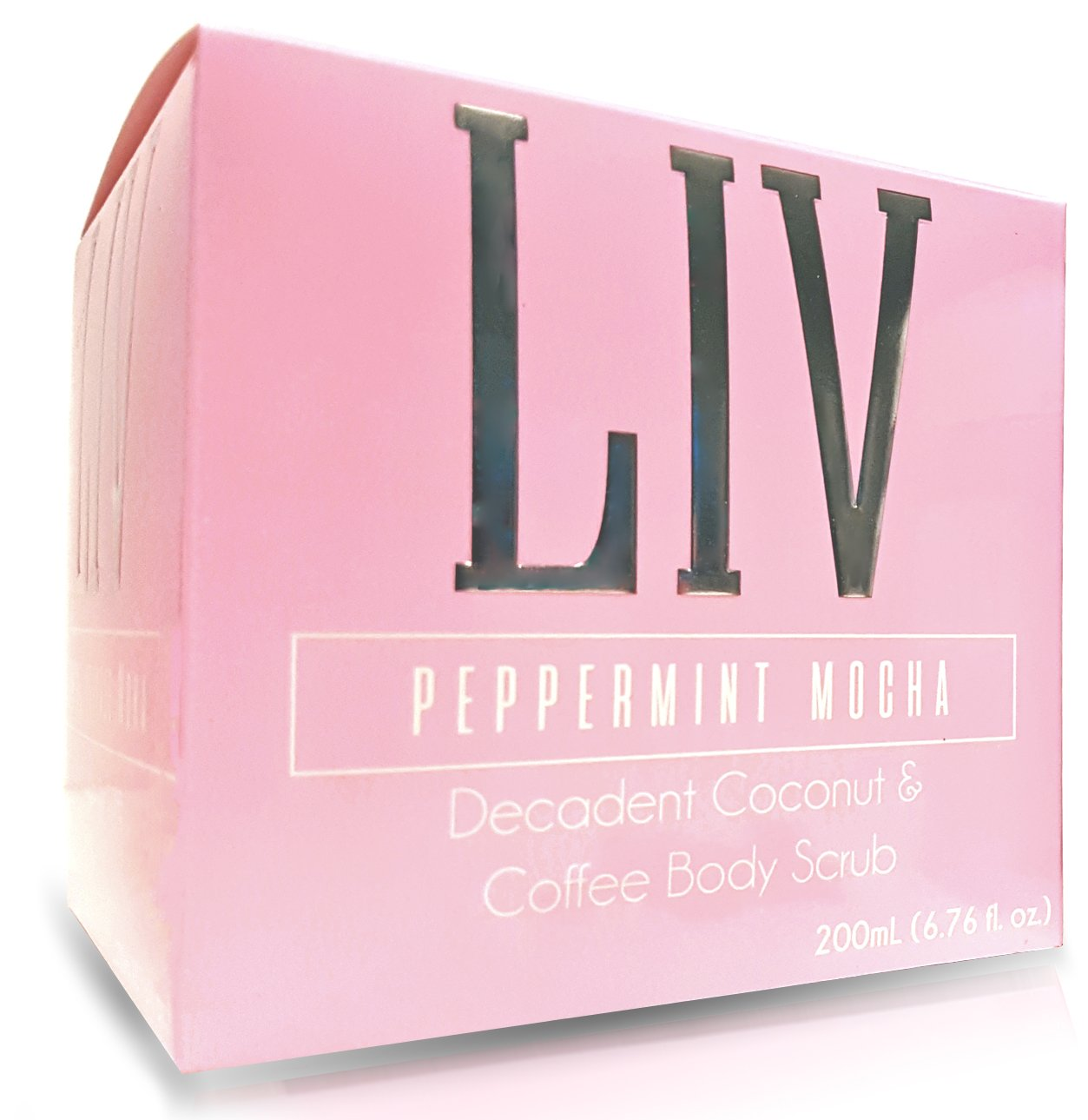 Organic Coconut Coffee Body Scrub by LIV Lavish Goods - with Sea Salt, Coconut Oil & Peppermint Oil - Luxury Skin Care - Removes Dead Skin, Moisturizes, Reduces Cellulite and Leaves Skin Soft and Silky