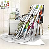 Luxury Double-sides Reversible Fleece Blanket go to school it is the start of the school year dad and mom take their children Couch Blanket,Travelling and Camping Blanket(60''x 50'')