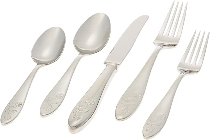 Lenox Butterfly Meadow 5-Piece Stainless Steel Place Setting, Service for 1 , Silver - 803604