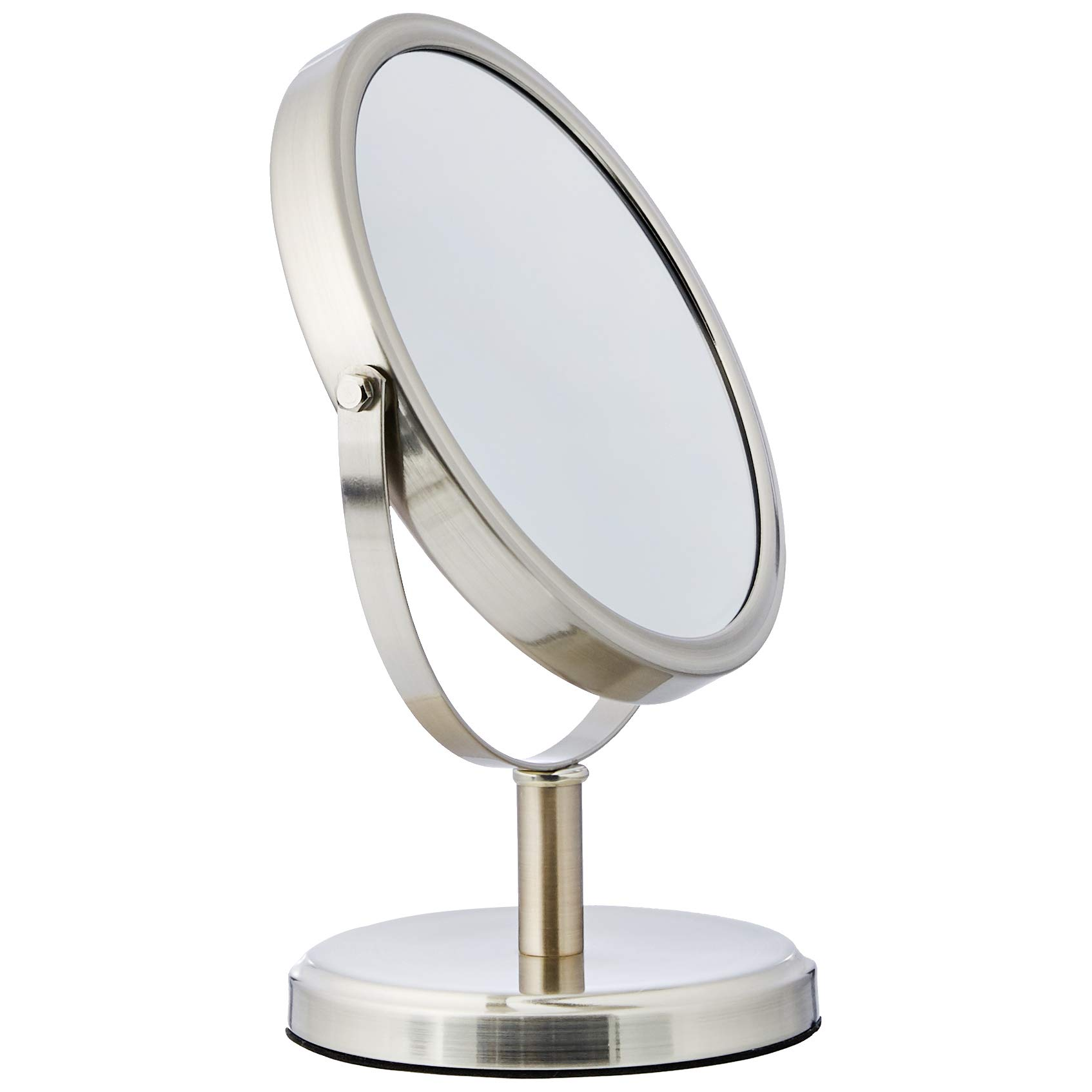 AmazonBasics Modern Dual Sided Magnification Makeup Vanity Mirror, Standard, Nickel