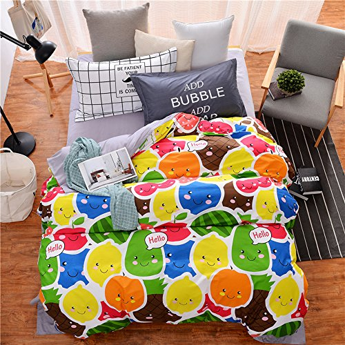 Mumgo Home Bedding for Adult Kid Kawaii Colorful Fruits Pattern Duvet Cover Set 100% Cotton Twin Full/Queen Size - Not Include Any Comforter (Full/Queen Size(4Pc/Set))