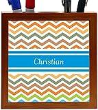 Rikki Knight Christian Blue Chevron Name Design 5-Inch Wooden Tile Pen Holder (RK-PH4226)