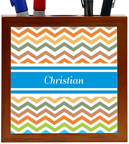 Rikki Knight Christian Blue Chevron Name Design 5-Inch Wooden Tile Pen Holder (RK-PH4226) by Rikki Knight