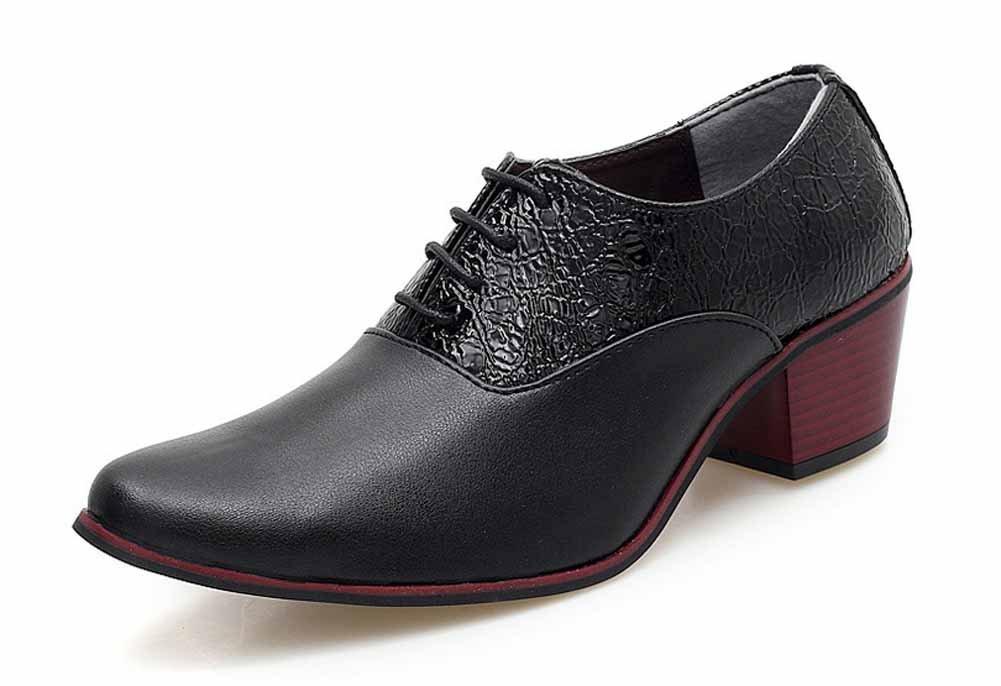 GLSHI Männer Britisch Spitz Derby Beiläufig High Heels Stylist Mode Nachtclub Schuhe