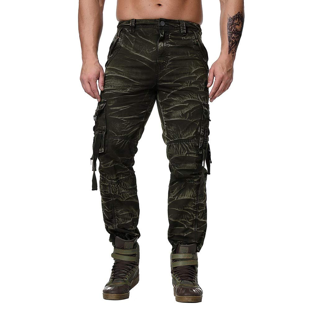 Mens Cargo Trousers - Cotton Casual Fit 6-Pocket Military Wind Straight Tactical Outdoor Work Pants Combat Trousers