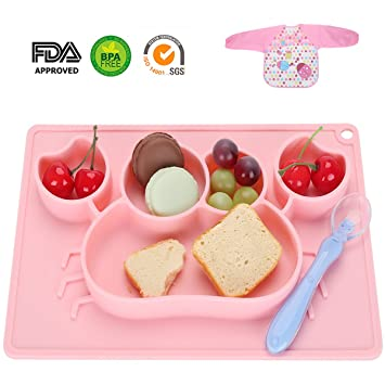 Silicone Placemat - Toddler Plate Divided 5 Compartments Portable Non Slip Suction Plates for Toddlers Babies  sc 1 st  Amazon.com & Amazon.com : Silicone Placemat - Toddler Plate Divided 5 ...
