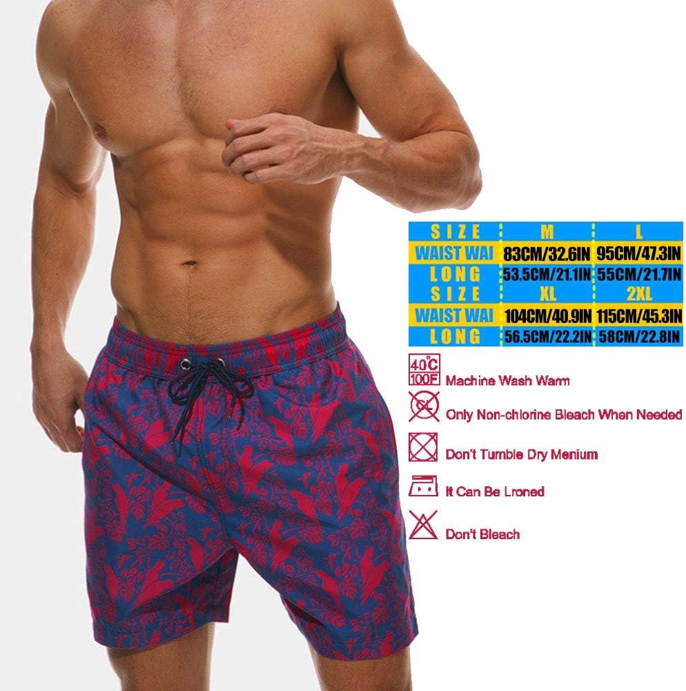 Mens Swim Trunks Buffalo Plaid Woodland Beach Board Shorts Quick Dry Sports Running Swim Board Shorts with Pockets Mesh Lining