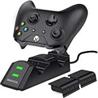 Xbox One Controller Charger, BEBONCOOL Dual Charger for Xbox One Controller with Rechargeable 800mAh NiMH Battery Packs, Xbox One Charger Dock for Xbox One/One S/One X/Xbox Elite Controllers