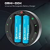 Olight OMNI-DOK Universal Charger and Rechargeable 18650 Batteries for Flashlight Camera
