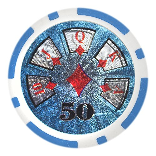 Poker Pro Poker Clay (Brybelly Hi-Roller Poker Chip Heavyweight 14-gram Clay Composite - Pack of 50 ($50 Light Blue))