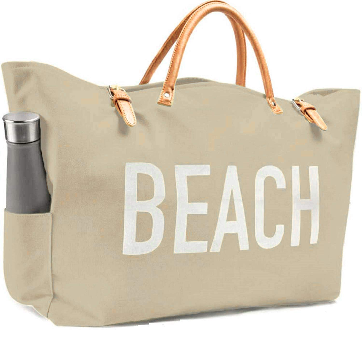 KEHO Large Canvas Beach Bag Travel Tote (Warm Sand), Waterproof Lining, 2 Drink Holders, Pockets, FREE Phone Case