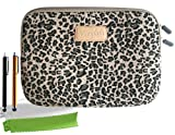 ColorYourLife Bundle of Canvas Fabric Leopard Print Laptop Sleeve Case Bag for 13-inch Laptop MacBook / MacBook Pro / MacBook Air with 2 Stylus Pens and Microfiber Cleaning Cloths (Leopard print, 13 inch)