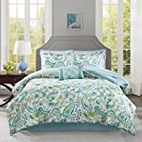 9 Piece Girls Aqua Blue Green Paisley Pattern Comforter Cal King Set, Elegant All Over Scrollwork Motif Flowes Theme Bedding, Rich Bohemian Hippie Indie Style, French Country Design, Vibrant Colors