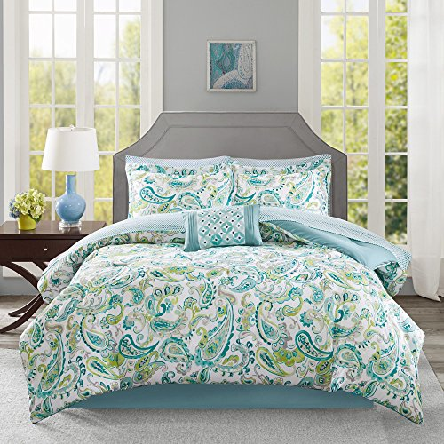 9 Piece Girls Aqua Blue Green Paisley Pattern Comforter Cal King Set, Elegant All Over Scrollwork Motif Flowes Theme Bedding, Rich Bohemian Hippie Indie Style, French Country Design, Vibrant Colors by OS