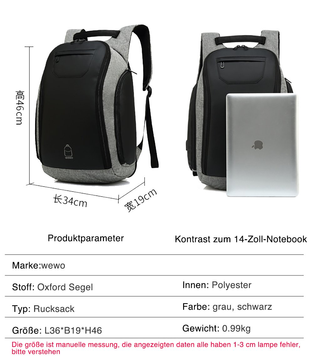 wewo 16 Zoll Laptop Rucksack Groß Herren Business Anti Theft