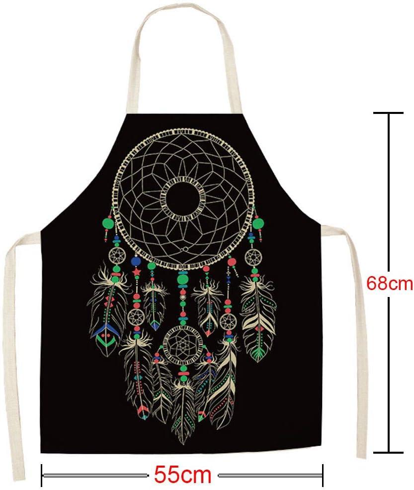 Webla Delantal impermeable ajustable para chef unisex Delantal impermeable con estampado de tareas domésticas de cocina(E)