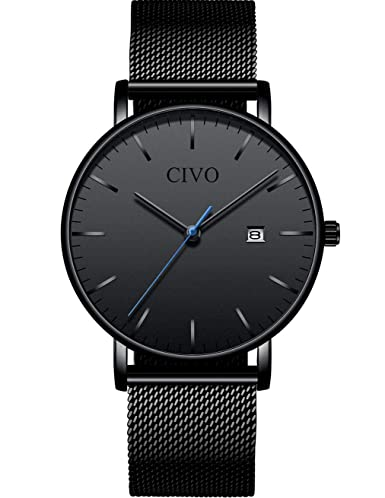 0e59e5808238 CIVO Relojes para Hombres Ultra Fino Minimalista Reloj de Pulsera Lujo  Elegante Moda Negro Caballeros Reloj Impermeable Fecha Calendario Relojes  con Banda ...