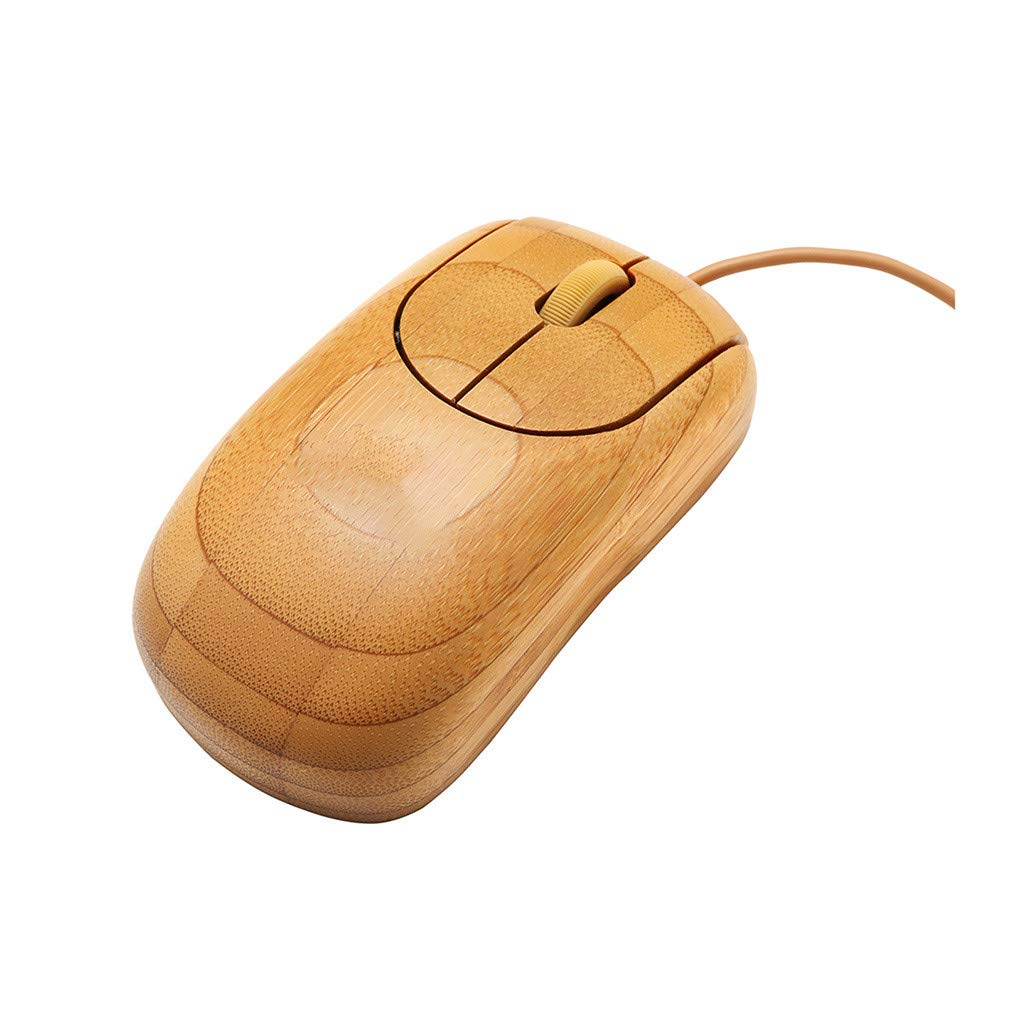 Pomdecy Bamboo Ecological Environmental Protection Anti-radiation Mouse//Optical Sensor//Khaki//Breathing Light//Programmable//Ultra-Slim//Quiet