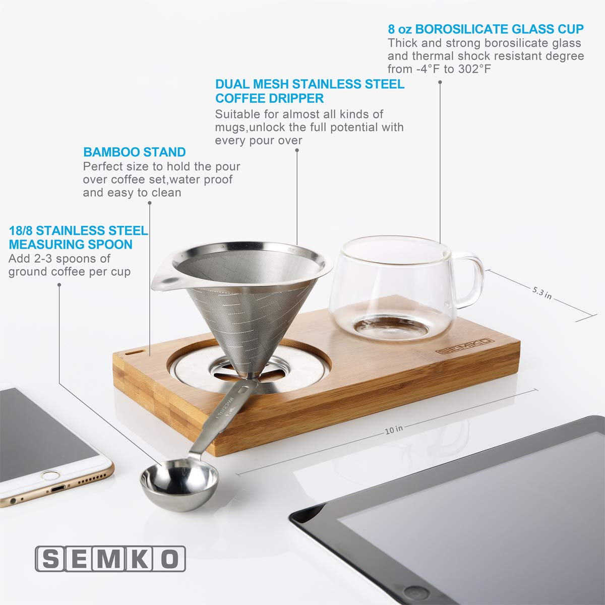 4 pcs/set, Single Serve Coffee Maker, Stainless Steel Coffee Dripper, Pour Over Coffee Maker, One Cup Coffee Maker Set, 8 oz Coffee Cup, Convenient Compact Dishwasher Safe Paperless Gift-ready Package by SEMKO (Image #5)
