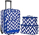 Ever Moda Chevron 3-Piece Carry On Luggage Set with Wheels for Travels (Royal Blue)