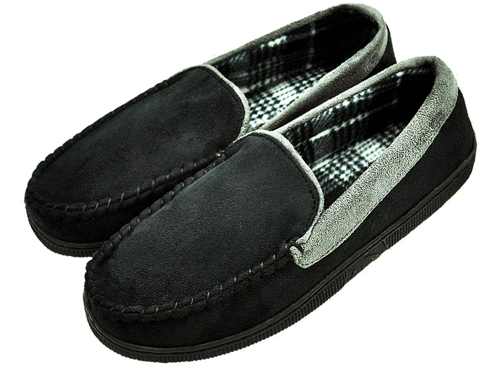 MIXIN Men's Casual Pile Lined Indoor Outdoor Rubber Sole Loafers Moccasins Flats Slippers Shoes Black and Grey 2018 Size 13 by MIXIN (Image #1)