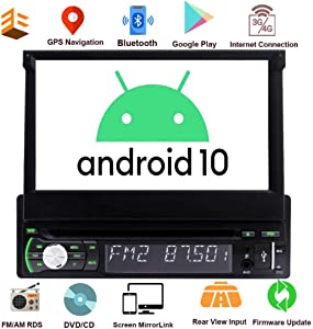 Single Din Car Stereo Android 10 GPS Navigation 1 Din Radio Bluetooth 7 Inch Flip Out Touch Screen DVD Player Universal Headunit 1GB+32GB with WiFi USB/AM/FM Rear View Camera Mirrorlink ODB2 SWC EQ