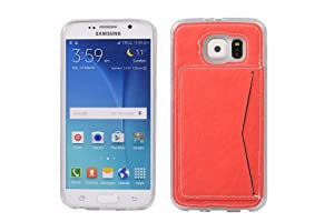 Galaxy S6 Case,Galaxy S6 Back Cover,Galaxy S6 Case with Card Holder,Spigeotter Back Case Cover with Credit Card Slot Protective Phone Case for Samsung Galaxy S6 Red