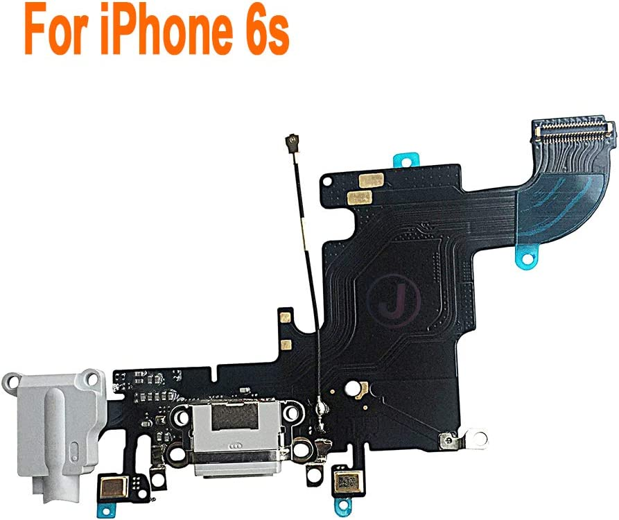 Johncase OEM Charging Port Dock Connector Flex Cable w/Microphone + Headphone Audio Jack Port Ribbon Replacement Part Compatible for iPhone 6s All Carriers (Light Gray)