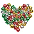 Pengxiaomei 200 PCS Jingle Bells, Colorful Christmas Bells, Mini Craft Bells Bulk Loose Beads Charms for Party & Festival Decorations and Jewelry Making (0.4 Inch, 0.6 Inch)