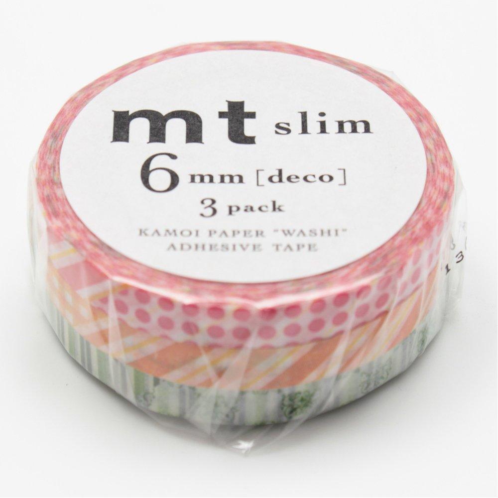 MT Washi Masking Tape, Slim, DECO D, 6mm x 10m x 3 (MTSLIM19)
