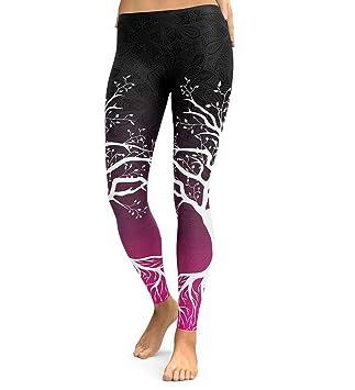 JFan Pantalon Yoga Mujer Leggings para Running Ropa Yoga Mujer Pantalones de Yoga con Estampado de árboles Fitness Ejercicio Atlético Yoga Leggings