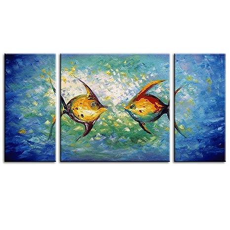 IPLST@ pesce rosso Pittura ad olio, dipinto a mano astratta Oceano ...