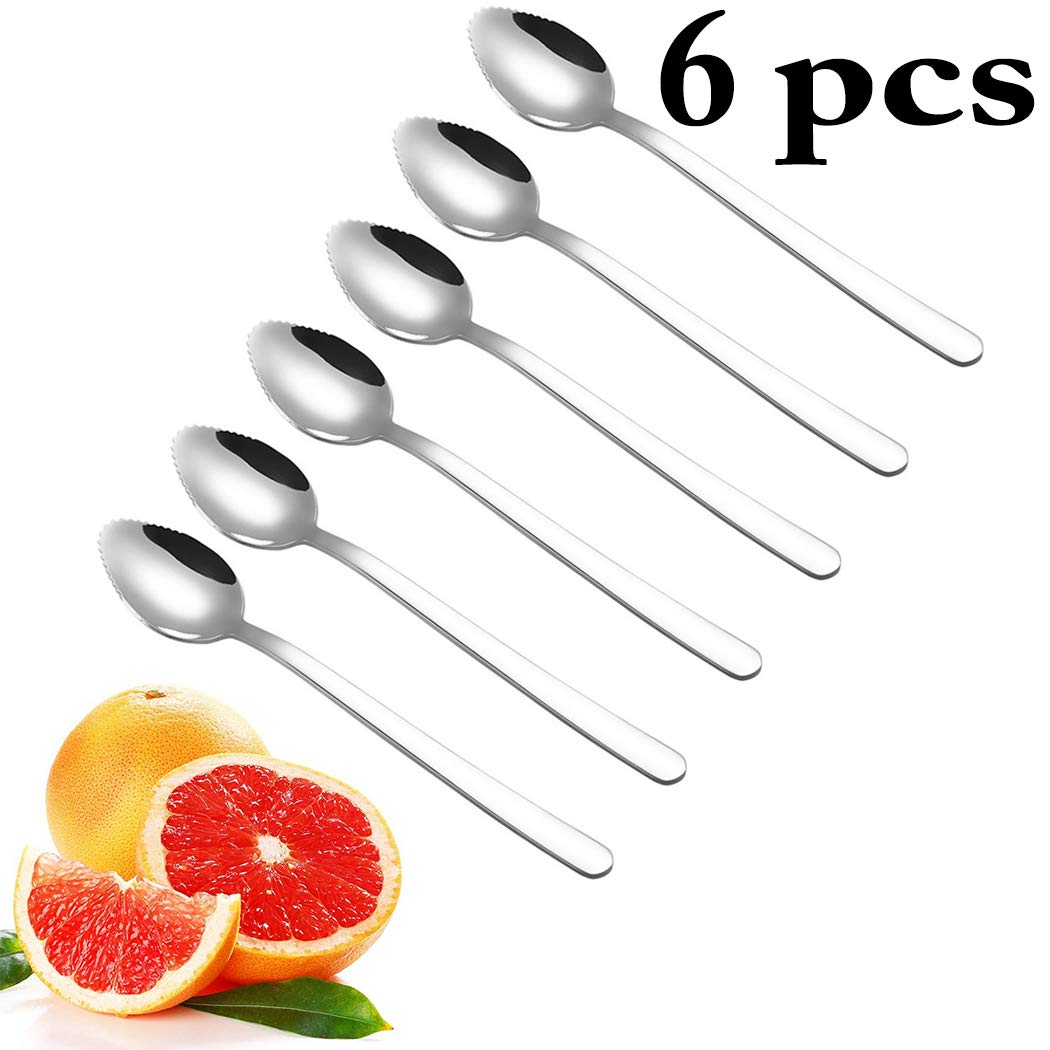 Grapefruit Spoons,Justdolife Fruit Spoon Serrated Simple Dessert Spoon Serving Spoon for Grapefruit