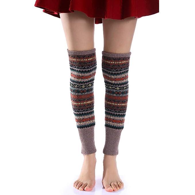 BESTOYARD Calentadores de pierna calcetines grueso invierno para mujeres (Fondo caqui)