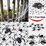 """Three different spider size plus one spider web.  Total 175 Pcs. Add more fun to your Halloween Party.  Large Spider: 3.54"""" * 3.74"""" Medium Spider 3.15"""" * 2.76"""" Small Spider: 1.57"""" * 1.77"""" Spider Web: 100 square feet(Free) Happy Halloween :) ..."""