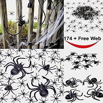 175 pcs halloween spider decorations 160pcs small spider 10pcs medium spider 4pcs big spider 1pcs spider web decorations best halloween party - Halloween Spider Decorations