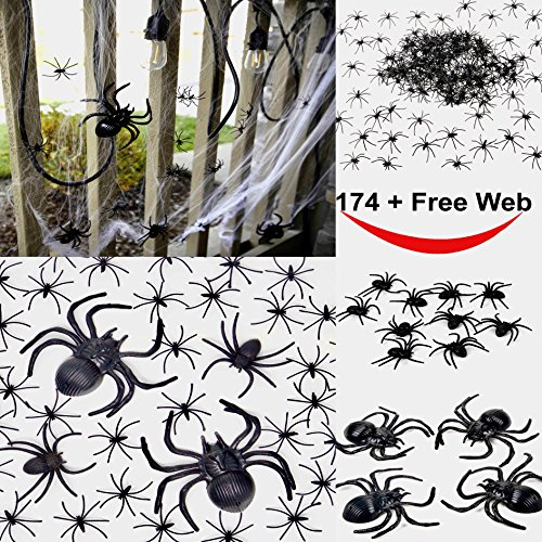 175 Pcs Halloween Spider Decorations – 160pcs Small Spider – 10pcs Medium Spider – 4pcs Big Spider – 1pcs Spider Web Decorations – Best Halloween Party Favor