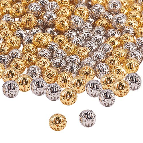 (PH PandaHall 200pcs 8mm Platinum & Golden Round Filigree Beads Hollow Ball Metal Spacer Beads for DIY Necklace Charm Bracelet Jewelry Making)