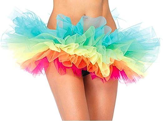 Ruiuzi - Falda de tul para mujer, minifalda, 4 capas, para baile ...