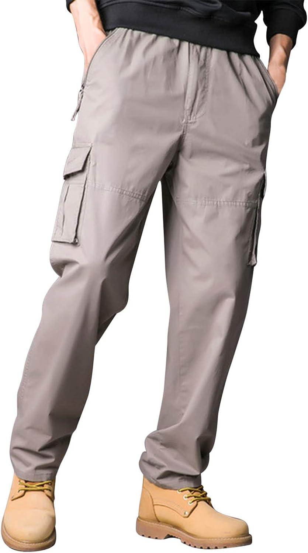 Libertepe Pantalon Cargo Homme Grande Taille Multi Poches Pantalon de Sport en Coton Pantalon de Travail Loose Bottom XL-5XL