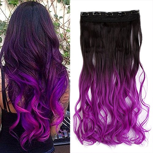 S-noilite Dip Dye Clip in Hair Extensions Ombre Two Color Long Thick Curly Wavy Straight 3/4 Full Head Synthetic Hairpiece Japanese Kanekalon Fiber Trendy Fashion (Dark Brown to Dark Purple) (Hair Extensions Brown To Purple)
