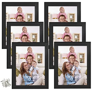 Giftgarden 6x8 Picture Frames Set Photo Frame for Wall Decor or Tabletop, Black, Set of 6