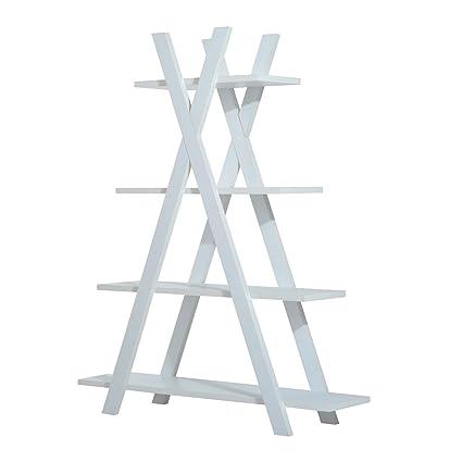 HOMCOM Wooden A Frame Bookshelf 4 Tier Bookcase Ladder Display Shelf Storage Stand Home Furniture