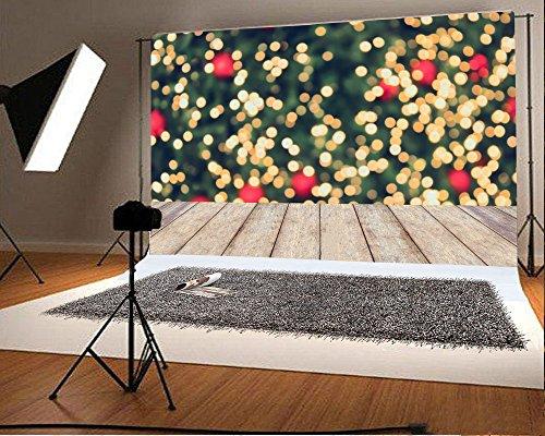 Red Glitter Backgrounds - Yeele 7x5ft Photography Backdrop Glitter Bokeh Spots Yellow Red Wooden Plank Floor Vinyl Background Personal Portrait Studio Props