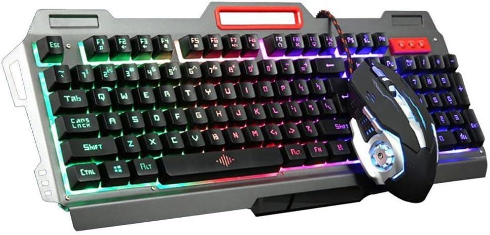 Cywulin Gaming Mouse and Gaming Keyboard Combo, Mechanical LED Backlit Gaming USB Wired 104 Keys Ergonomic Keyboard+Adjustable 3200DPI Gamer Mouse Bundle Pack for PC, Mac, Computer, Laptop (Black)