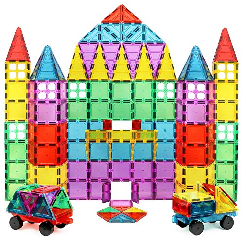 Magnet Build Deluxe 100 Piece 3D Magnetic Tile Building Set Extra Strong Magnets and Super Durable Tiles, Educational, Creative, Assorted Shapes and Vibrant Bright Colors ()